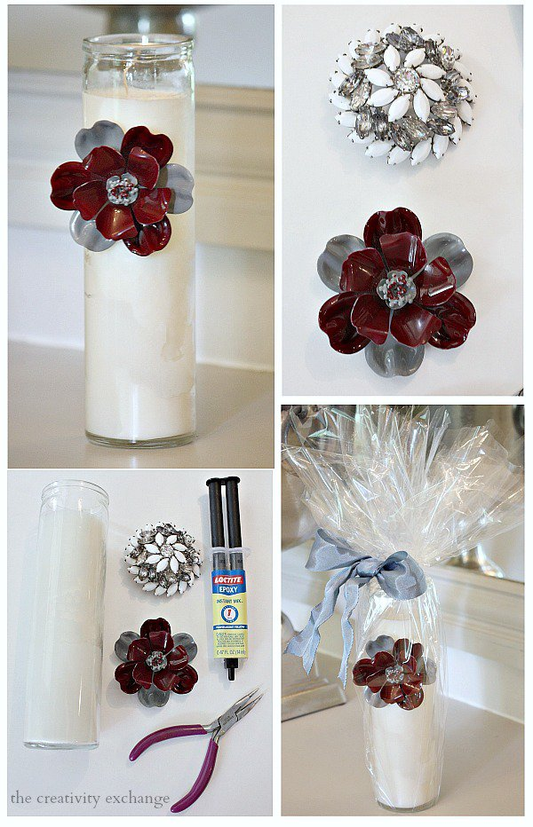 Tutorial For Glueing Vintage Pins To Candles Or
